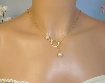 Gold Infinity Pearl Lariat,  Large Freshwater Pearls Gold Filled Necklace, Birthstone Gems Infinity,