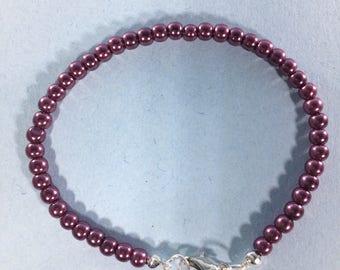 Memorial  Day SALE 30% Purple Pearl Bracelet, Purple Pearl Gemstone Bracelet gemstone Bracelet , May Birthstone bracelet