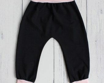 Cuffed Harem pants - cuff leggings, baby leggings, toddler leggings, kids leggings, black leggings, blush leggings, black harem pant