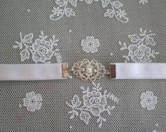 Wedding Dress Belt - Bridal Belt - Silver Belt - White Belt - Wedding Belt - Wedding Gown Belt - Wedding Accessories - Bridal Accessories