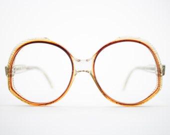 Vintage 1970s Eyeglasses | Clear Brown Oversized Round 1970s Glasses | NOS Eyeglass Frame | Vintage Deadstock Eyewear - Ravenna 2