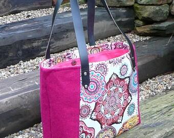 Tote Bag, Wool Tweed Shoulder Bag, Chenille Upholstery Fabric, Tapestry bag, Hot Pink tote bag