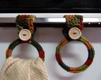 crocheted hanging towel holders set of 2, kitchen towel ring, hand towel holder, crochet kitchen decor, RV towel holder, towel holders