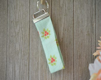 Flower Key Fob, Blue, Key Ring, Key Chain, Wristlet