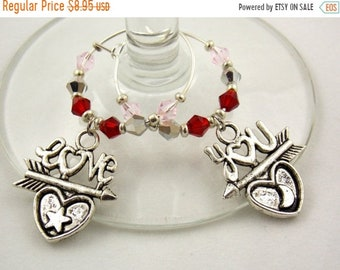 """Wine Charms Set of 2 Couples """"Valentine's Day"""" Handmade Swarovski Crystal His and Hers - Wedding Birthday Holiday Party"""