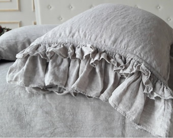 Soft linen ruffled pillowcase. Organic Pillow Case with ruffles one side. Duble ruffles pillow cover slip 8 colors Natural, Gray, Wine