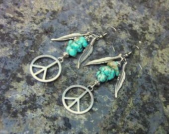 turquoise earrings, peace earrings, boho earrings, bohemian earrings, feather earrings, peace sign earrings, gemstone earrings