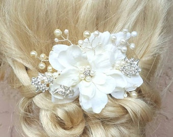 Wedding  Hair Comb, Wedding Hair Accessories, Bridal Hair Comb, Pearl Hair Comb, Crystal Hair Comb, Bridal Hair Accessories, Floral Comb