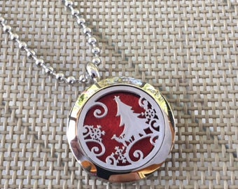 Christmas Stainless Steel 25mm Essential Oil Diffuser Necklace, Aromatherapy Necklace.