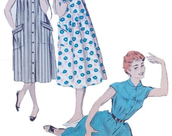 Vintage Butterick 7139 Quick and Easy Morning Coat | 1950s Robe Tent Dress Sewing Pattern Bust 34