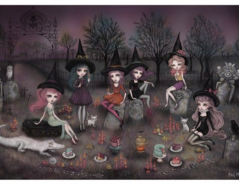 The Graveyard Girls Limited Edition Giclée Print - Inspired by Witches, Magic, Ghosts, Dark Fairytales and Folklore