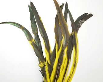 "Rooster Tail Half Tone Satinette XXXLong - Yellow, 14-16"" tall (20pcs)"
