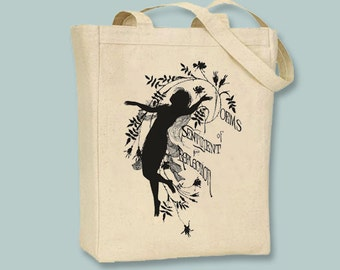 Poems Decorative Vintage Silhouette Tote - Selection of sizes, ANY COLOR IMAGE available