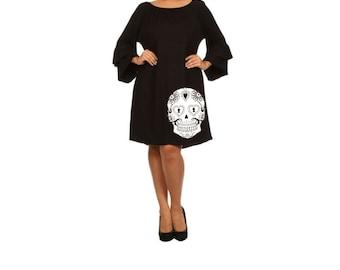 Sugar Skull Dress Women's Plus Size Clothing Black Dress ruffled dresses with skulls cute tunic screen printed clothing pin up 2XL 3XL sizes