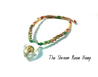 Rasta Hemp Necklace with Handblown Glass Mushroom