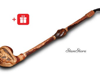 "EXTRA LONG Hand Carved Smoking Pipe 22"" Wooden Pipe Tobacco Pipe Long Stem Pipe Groomsmen Wedding Gift Ideas Pipe of Peace Custom Engraving"