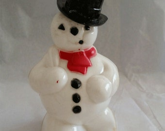 Vintage ca 1950 Rosbro Plastic Snowman Candy Container