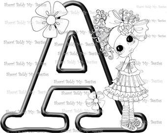 INSTANTÁNEA descargar Digital Digi sellos ojo grande Big Head Dolls Digi mi Besties alfabeto letra A por Sherri Baldy
