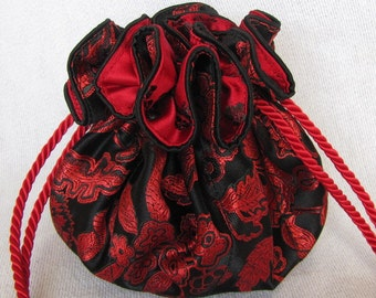 Brocade Drawstring Pouch - Luxury Size - Bag for Jewelry - Tote - ESCAPED LOVE