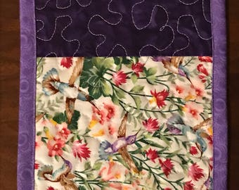"""Mug Rug, Coaster, 6.5"""" x 9.5"""" quilted mug rug, quilted coaster, quilted placemat"""