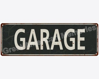 Garage White on Black Vintage Look Metal Sign 6x18 6180663