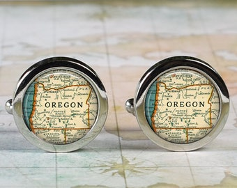 Oregon cuff links, Oregon cufflinks wedding anniversary gift for groom gift men's gift groomsmen gift for best man Dad Father's Day gift