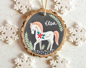 Personalized Ornament for Kid, Horse Ornament, Baby Ornament, Gift for Baby Girl, Kid Ornament, Custom Christmas Ornament, Baby Keepsake