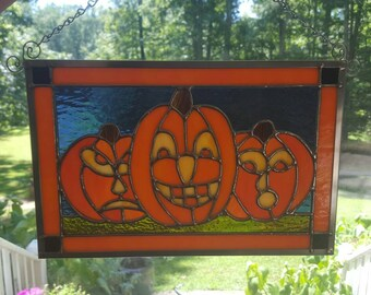 Stained Glass Pumpkins Trio
