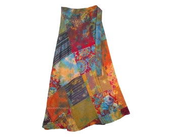 Mojo Wrap Around Skirt Unique Patchwork in Fun Colors
