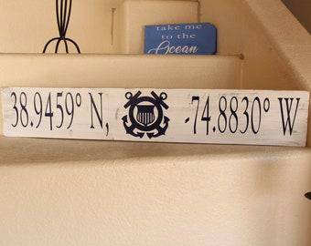 Personalized longitude and latitude wood sign 32x6
