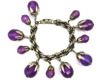 Napier Purple Lucite Charm Bracelet Silver Tone Vintage 1950's Napier Jewelry Chunky Plastic Jewelry Fob Dangle Charms