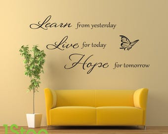 Learn Live Hope Wall Sticker Quote - Home Lounge Wall Art Decal X107