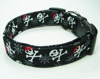 Jolly Roger Pirate Skulls Dog collar