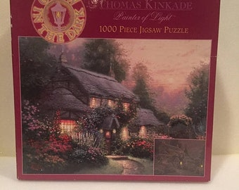 Summer Sale Thomas Kinkade Painter of Light Julianne's Cottage 1000 Piece Jigsaw Puzzle Glow in the Dark.New,Sealed.Free Shipping