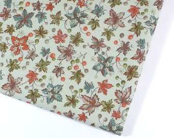 Vintage fabric, leaves, remnant, 28x63 inches, cotton, pale sage, orange, teal, Destash
