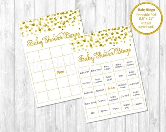Baby shower bingo cards. Printable. Baby shower games, gold. Baby bingo. Golden and white. instant download. Games for baby shower, neutral.