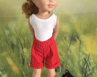 Pleated, high waist, knee length shorts PATTERN  for Wellie Wishers