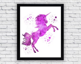 Unicorn Watercolor print, Unicorn Printable Wall Art, Unicorn wall decor, Unicorn poster