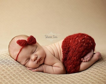 Burgundy Red Mohair Skirt and Headband Set Newborn Baby Photography Prop
