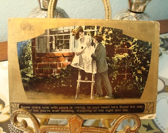 "Vintage ""Some one's love with yours is linking..."" Postcard - Postmarked Circa 1910 - Good Vintage Condition!!"