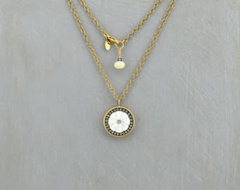Mother of Pearl Button Pendant, Necklace