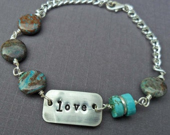 Love Bracelet - Personalized Word Bracelet - Blue Stones and Silver Tag Bracelet- Aqua Jasper and Turquoise-  Custom Name - Sterling B-8