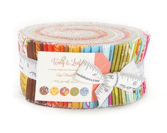 """Wing & Leaf Jellyroll by Gina Martin for Moda - (40) 2 1/2"""" Strips"""