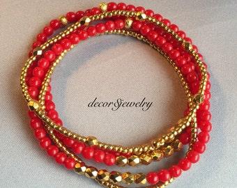 Bright Red & Gold Dana Bracelets - 24K Gold Czech Beads - Set of 5 Beaded Stretch Bracelets - Red and Gold Bracelets - Bright Red Bracelet