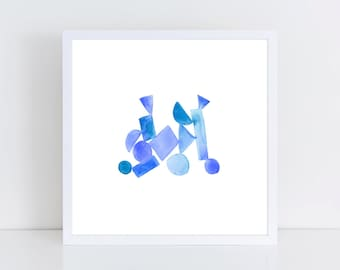 Blue Ombre Watercolor Shapes Gallery Wall Printable   Blue Watercolor Print