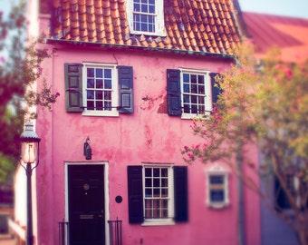 Charleston Photo, South Carolina, Pink House, Travel Print, Historical Architecture, Wall Art Print, French Quarter, Shabby Chic Art, Decor