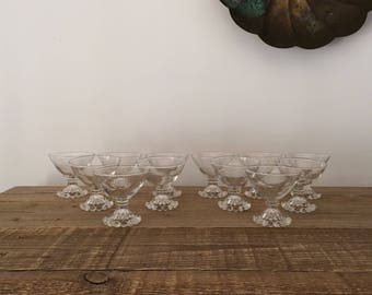 Vintage Set of 12 Boopie Glass Champagne Coupes Sherbert Dishes