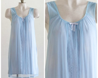 Light blue nightgown with chiffon overlay