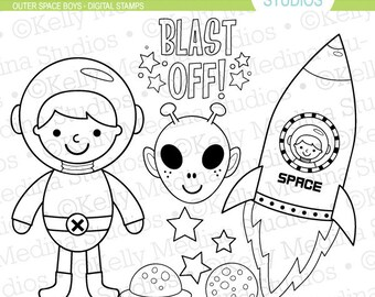 Outer Space Boy - Digital Stamps, Elements Commercial use for Cards, Stationery and Paper Crafts and Products by Kelly Medina