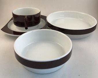 Vintage Richard Ginori Italy, Joe Colombo & Ambrogio Pozzi Design for Alitalia Airlines Glazed Porcelain First Class Tableware
